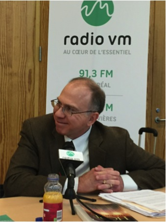 Professor Brian Lepard during his radio interview with Radio Ville-Marie