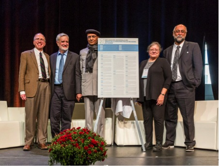 Professor Brian Lepard, Dr. Daniel Cere, Dr. Arvind Sharma, Dr. Vivian-Lee Nyitray, and Dr. Amir Hussain, principal drafters of the Universal Declaration of Human Rights by the World's Religions