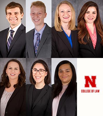 Headshots of seven students: Taylor Hayes, Hannes Zetche, Amy Sonnenfeld, Lydia Mann, Tessa Lengeling, Sarah O'Neill and Deanna Hobbs.