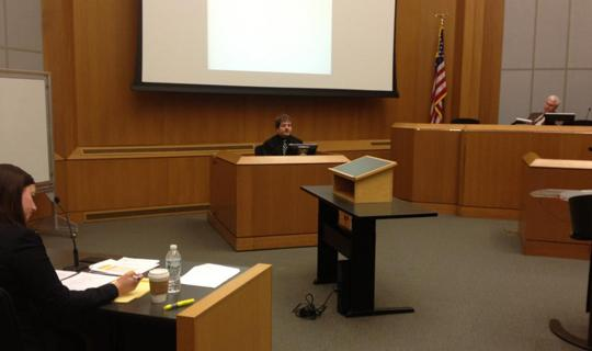 Students participating in a mock trial.