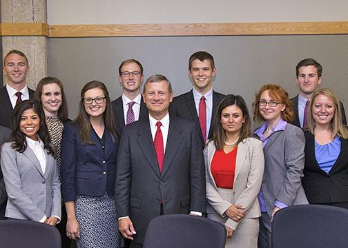 Students with Chief Justice John Roberts